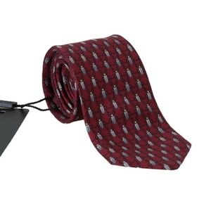 Dolce & Gabbana D336 Bordeaux Silk Gray Bug Tie